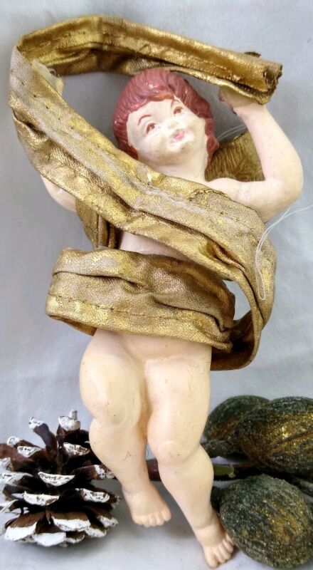 RARE Vintage Cherub Christmas Ornament Angel Draping gold Cloth Ribbon 5 inches