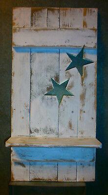 Regal 2 Sterne Shabby chic  Unikat  Palettenholz weiß für Haus und Garten