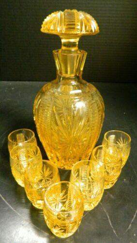 Vintage (8) Piece Art Deco Yellow Crystal Decanter Cordial Set Excellent Cond