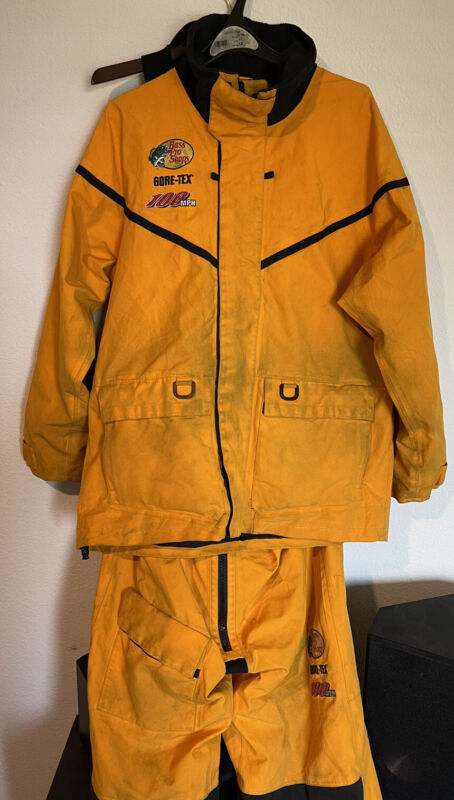 Bass Pro Shops 100mph Large Tall L Jacket And Bib Yellow Pants Gore-Tex Complete