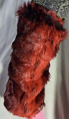 Pair Soft Furry Leg Warmers - Red and Black - Fluffies party dance two tone