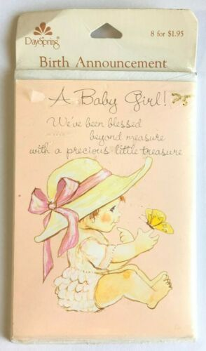Vintage Baby Birth Announcement Cards Girl 8 in Pack Day Spring