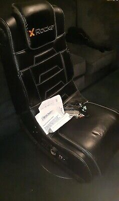 X Rocker Pro Series 2.1 Vibrating Black Leather Foldable Video Gaming Chair READ
