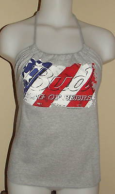 Budweiser Beer Swag Bud Girl Reconstructed Shirt Patriotic Halter Top DiY