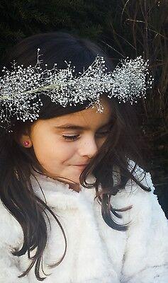Girl's Silver Flower Crown Headband Silver Flower Girl Hair Wreath Floral Halo (Flower Halo Headband)