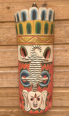 Vintage Carved Wood & Bright Painted Colour Oceanic Tribal Wall Mount Mask Tiki