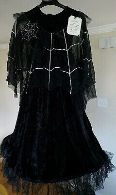 Pottery Barn Kids Black Spider Queen Kids Halloween 2 pc Costume 7-8 Years Old