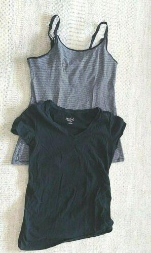 Gilligan &  O'malley Nursing Cami Tank Top Size M Black Gray and Black top