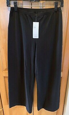 NWT EILEEN FISHER Black Stretch Jersey Cotton Crop Wide Leg Pull On Pant XXS$118