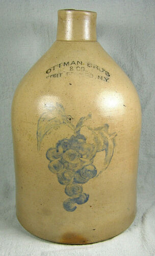 Antique Cobalt Blue Decorated Stoneware Jug - Ottman Bros, NY - Grapes Bunch