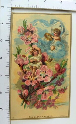 "Victorian Fantasy Trade Card Cherubs Clouds ""The Flower Angels"" #H"