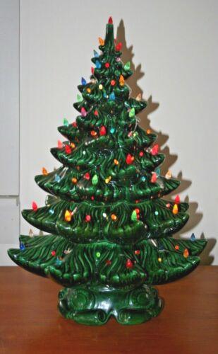 "VINTAGE MCM 1976 CERAMIC ELECTRIC LIGHT UP LIGHTED CHRISTMAS TREE 24"" w/ BULBS"