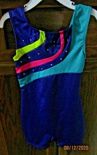 FREESTYLE DANSKIN Girls  Pink/Purple/Aqua Dance Biketard Gymnastics Leotard 6X