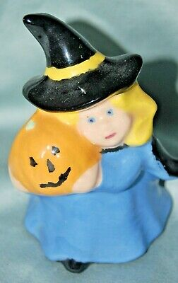 Sweet Vintage GOOD WITCH Holding Jack o Lantern Ceramic Halloween Figurine Wicca