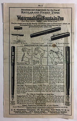 Waterman's Ideal Fountain Pen Vintage Instructions Directions For Use Form S-410