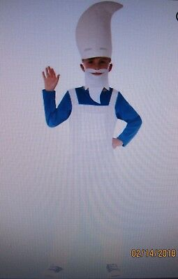 New GNOME BOY COSTUME Size Toddler 3-4 3T 4T White Dungaree Overalls Beard - Gnome Toddler Costume