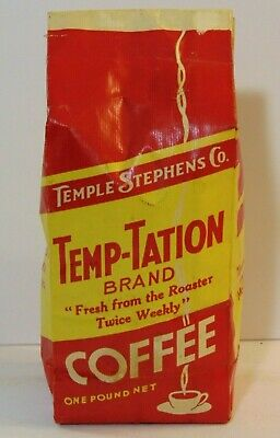 1940s Handbags and Purses History New Vintage 1940s TEMPLE STEPHENS COFFEE ONE POUND BAG MOBERLY MISSOURI WWII ERA $59.99 AT vintagedancer.com