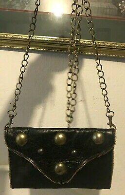 J J Winters Studded Flap Slim Petite Chain Strap Purse Clutch Shoulder Bag