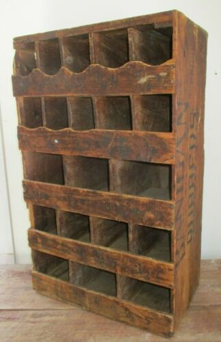 """Antique Wood Box w/ 20 Compartments, Old Homemade Cubbie Bins, 31""""H x 19""""W"""