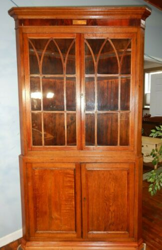 Antique Hepplewhite English Regency Corner Cupboard Oak & Mahogany Two Piece