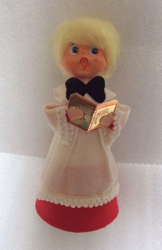 """Vintage Japan Cardboard Tree Topper Decoration Blonde Girl Choir Singer 7 1/2"""""""