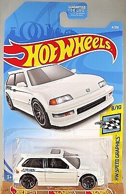 2019 Hot Wheels #4 HW Speed Graphics 8/10 '90 HONDA CIVIC EF White Greedy Tampo