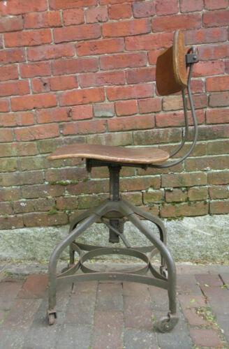 Vintage Antique Industrial Toledo Metal Steel Wood Stool Chair Oak Adjustable
