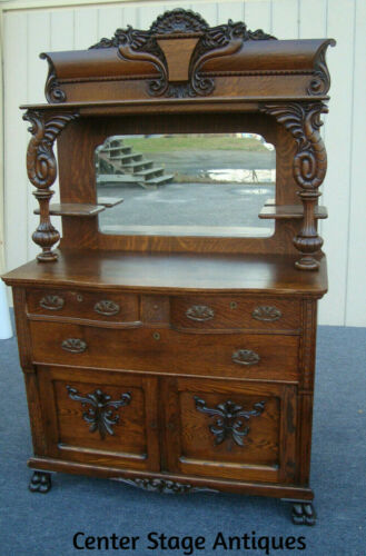 61511 Antique Victorian Oak Buffet w/ Gryphons