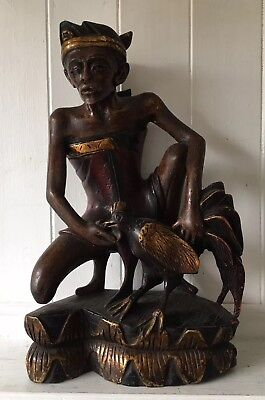 Large Vintage Carved Wooden Painted Indonesian Figure