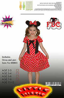 Minnie Mouse Style Mini Mouse Girls Fancy Dress Costume - Girls Mini Mouse Costume