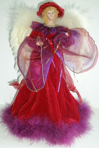 """Christmas Angel Tree Topper Porcelain Face Feathered Wings 16"""" Centerpiece table"""