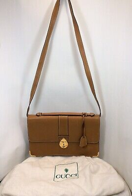 Vintage GUCCI Leather Clutch Bag With Removeable Strap W/ Dust Bag Keys Rare