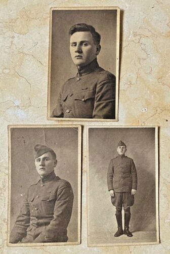 (3) ORIGINAL WW1 US ARMY 81st WILDCAT DIVISION SOLDIER in FRANCE PHOTOGRAPHS