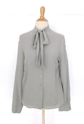 Iris Von Arnim Gray 100% Silk Crepe Pussy Bow Tie Neck Blouse Shirt 36