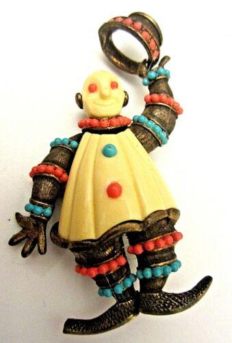 """Vintage 2-3/4"""" KJL for Hattie Carnegie Goldtone Clown Figural Brooch Pin A16"""