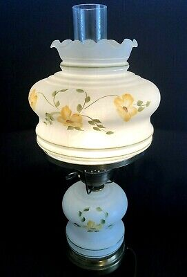 - Vintage Frosted White Hurricane Table Lamp,Floral Pattern Brass Base 18