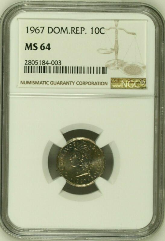 10c 1967 MS64 Dominican Republic