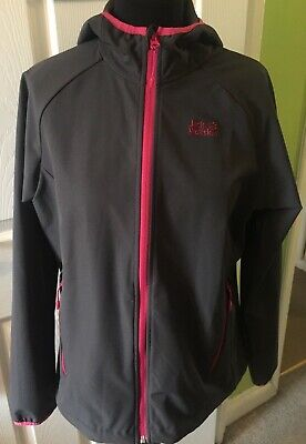 Jack Wolfskin Lightweight Outdoor Hooded Jacket in Grey & Pink in Size L 14/16