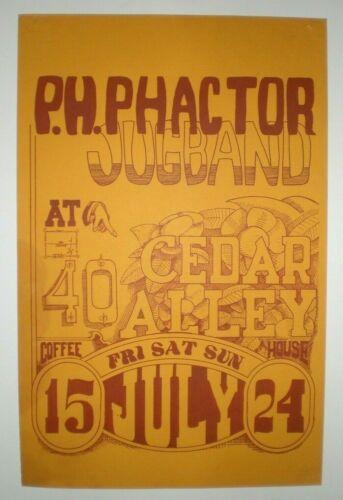 Vintage Original 1966 P.H. PHACTOR JUG BAND Concert Poster Cedar Alley SF Garage