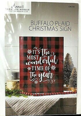 Annie's Creative Woman Buffalo Plaid Christmas Sign DIY Craft Kit CWC158 NEW