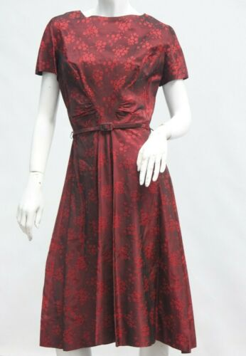 Vintage 40s-50s Belted Asian Floral Print Dress