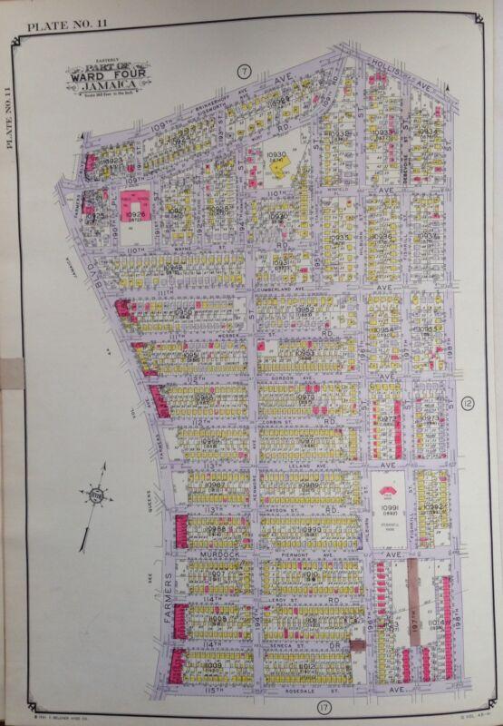 ORIG 1942 E. BELCHER HYDE ATLAS MAP HOLLIS - JAMAICA QUEENS NEW YORK 20 X 28