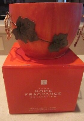 NEW-Avon-Wooden PUMPKIN BOWL-Home Fragrance Collection- Wood with Metal Leaves - Pumpkin With Leaves
