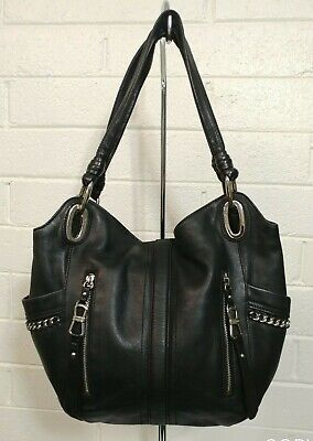 B. MAKOWSKY SOFT BLACK LEATHER SILVER HARDWARE LARGE SHOULDER BAG HANDBAG PURSE