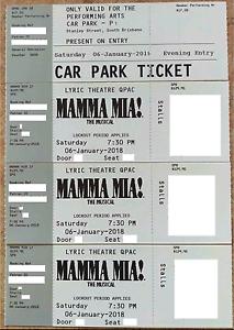 MAMMA MIA TICKETS + CAR PARK TICKET Bethania Logan Area Preview