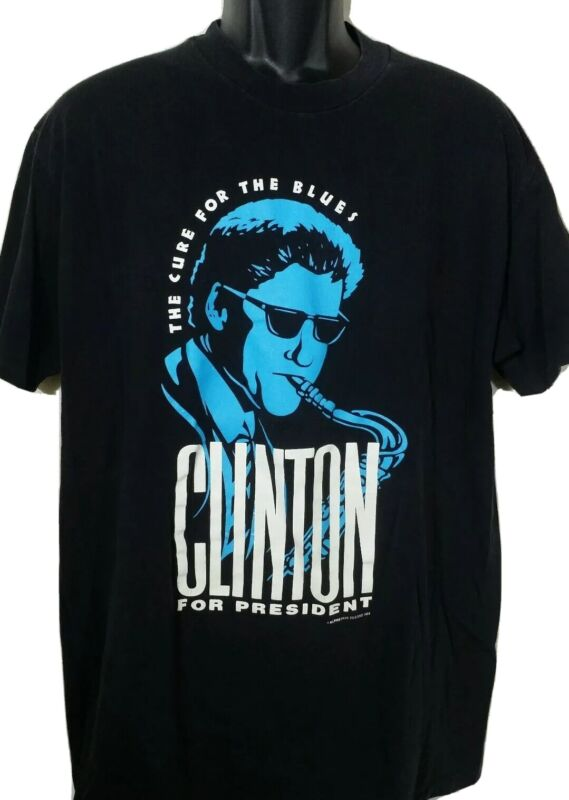Vintage 1992 Bill Clinton For President Campaign 90s T-shirt XL Jazz Blues Music
