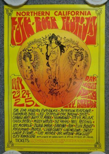 Original 1969 Northern California Folk-Rock Festival Poster Hendrix Zeppelin