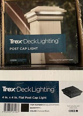 TREX LED Post Cap Light- Square Style, Charcoal Black, BKSQLEDCAP4X4C
