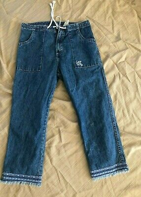 Jordache Crop Blue Jean Capri Pants drawstring Vinatge cotton 9/10