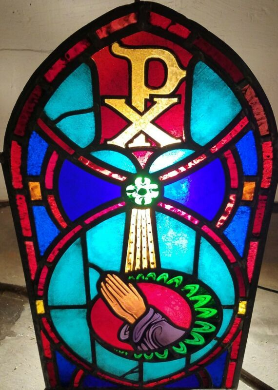 ANTIQUE ORIGINAL STAINED GLASS CHURCH ARCH WINDOW, FULLY RESTORED, NICE! 1900s